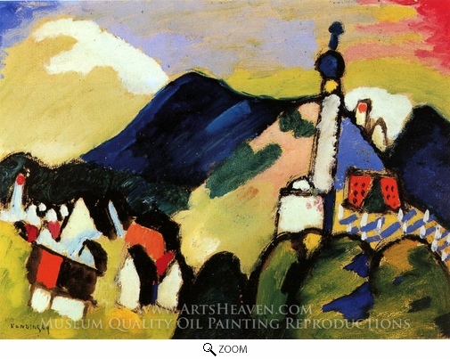 Wassily Kandinsky, Murnau with Church II oil painting reproduction