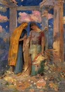 Mystical Conversation painting reproduction, Odilon Redon