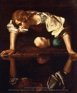 Narcissus painting reproduction, Caravaggio