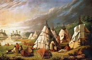 Native American Encampment on Lake Huron painting reproduction, Paul Kane