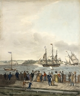 New York Harbor from the Battery painting reproduction, Thomas Thompson
