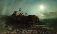 Night (Two Stags Battling by Moonlight) painting reproduction, Sir Edwin Landseer