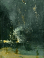 Nocturne in Black and Gold, The Falling Rocket painting reproduction, James McNeill Whistler