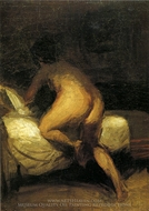 Nude Crawling into Bed painting reproduction, Edward Hopper