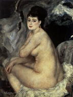 Nude Seated on a Sofa painting reproduction, Pierre-Auguste Renoir