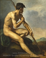 Nude Warrior with a Spear painting reproduction, Theodore Gericault