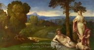 Nymphs and Children in a Landscape with Shepherds painting reproduction, Giorgione