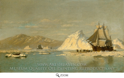 William Bradford, Off Greenland, Whaler Seeking Open Water oil painting reproduction