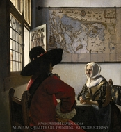 Officer with a Laughing Girl painting reproduction, Jan Vermeer