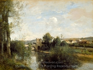 Old Bridge at Limay, on the Seine painting reproduction, Jean-Baptiste Camille Corot