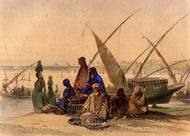On the Banks of the Nile painting reproduction, Amedeo Preziosi