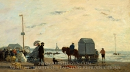 On the Beach at Trouville painting reproduction, Eugene-Louis Boudin