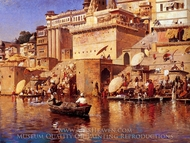 On the River Benares painting reproduction, Edwin Lord Weeks