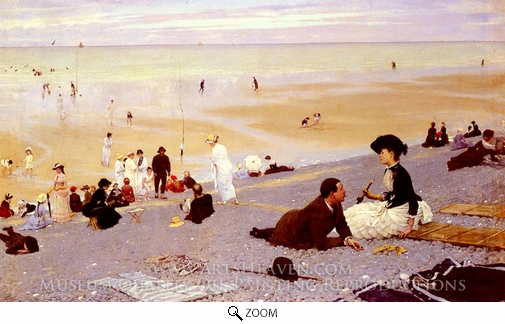 Albert Aublet, On the Shingle oil painting reproduction