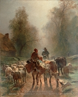On the Way to Market painting reproduction, Constant Troyon