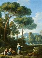 One of a Pair of Views of the Roman Campagna with Figures Conversing painting reproduction, Jan Frans Van Bloemen
