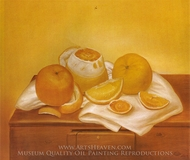 Oranges painting reproduction, Fernando Botero