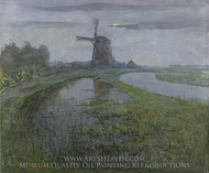 Osstzijdse Mill along the River Gein by Moonlight painting reproduction, Piet Mondrian