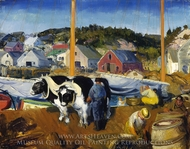 Ox Team, Wharf at Matinicus painting reproduction, George Bellows
