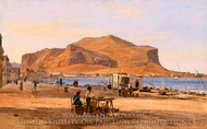 Palermo Harbor with a View of Monte Pellegrino painting reproduction, Martinus Rorbye