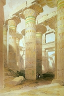 Part of the Hall of Columns at Karnak painting reproduction, David Roberts