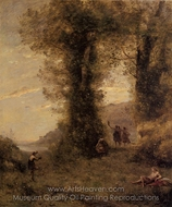 Pastorale painting reproduction, Jean-Baptiste Camille Corot