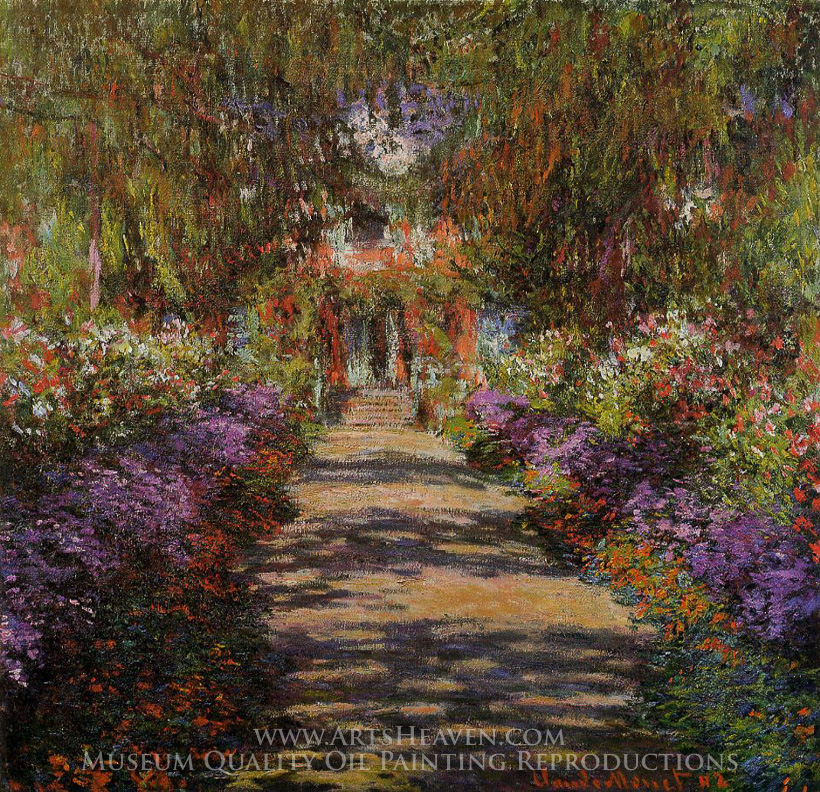 Reproduction Painting Claude Monet Pathway in Monet\'s Garden at ...