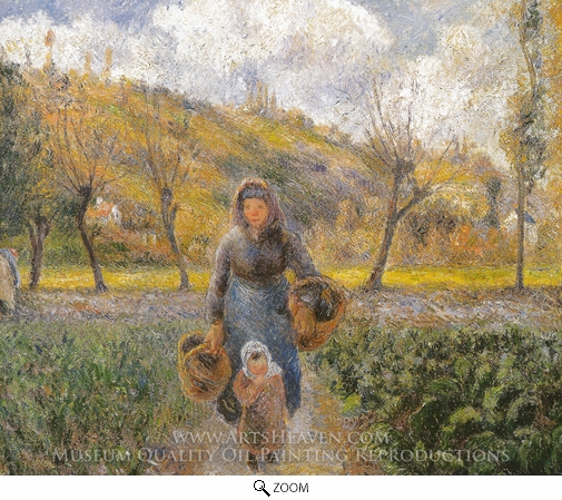 Camille Pissarro, Peasant Woman and Child, Eragny oil painting reproduction