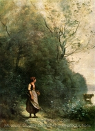 Peasant Woman Pasturing a Cow on the Edge of a Wood painting reproduction, Jean-Baptiste Camille Corot