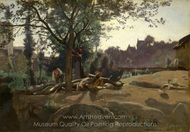 Peasants Under the Trees at Dawn painting reproduction, Jean-Baptiste Camille Corot