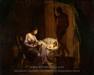 Penelope Unraveling Her Web painting reproduction, Joseph Wright of Derby