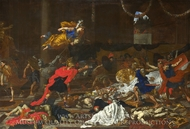 Perseus turning the Followers of Phineus into Stone painting reproduction, French Painter