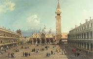Piazza San Marco with the Basilica painting reproduction, Canaletto