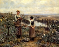 Picking Flowers painting reproduction, Daniel Ridgway Knight