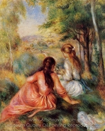 Picking Flowers (in the field) painting reproduction, Pierre-Auguste Renoir