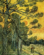 Pine Trees against an Evening Sky painting reproduction, Vincent Van Gogh