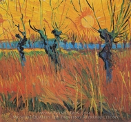 Pollard Willow with Setting Sun painting reproduction, Vincent Van Gogh