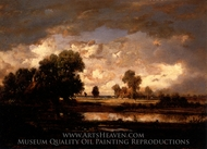 Pond and Stormy Sky painting reproduction, Theodore Rousseau