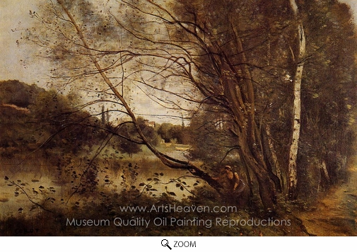 Jean-Baptiste Camille Corot, Pond at Ville d'Avray, with Leaning Trees oil painting reproduction