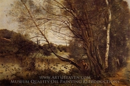 Pond at Ville d'Avray, with Leaning Trees painting reproduction, Jean-Baptiste Camille Corot