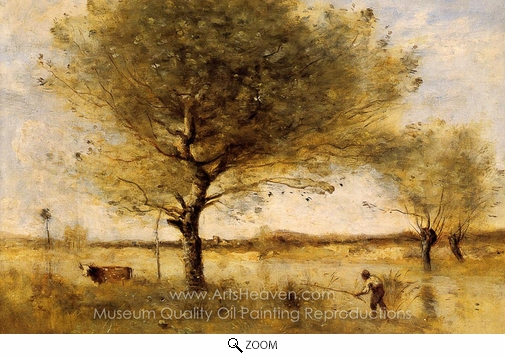 Jean-Baptiste Camille Corot, Pond with a Large Tree oil painting reproduction