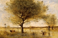 Pond with a Large Tree painting reproduction, Jean-Baptiste Camille Corot