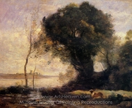 Pond with Dog painting reproduction, Jean-Baptiste Camille Corot