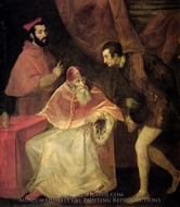 Pope Paul III and Nephews painting reproduction, Titian