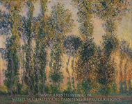 Poplars at Giverny, Sunrise painting reproduction, Claude Monet