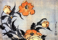 Poppies painting reproduction, Katsushika Hokusai