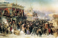 Popular Festival on the Teyskaya Square in St. Petersburg painting reproduction, Konstantin Makovskiy