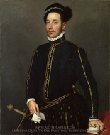 Portrait of a Gentleman (Il Gentile Cavaliere) painting reproduction, Giovanni Battista Moroni