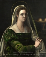 Portrait of a Lady with the Attributes of Saint Agatha painting reproduction, Sebastiano Del Piombo