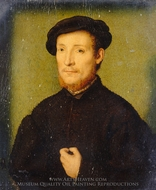 Portrait of a Man with His Hand on His Chest painting reproduction, Corneille De Lyon
